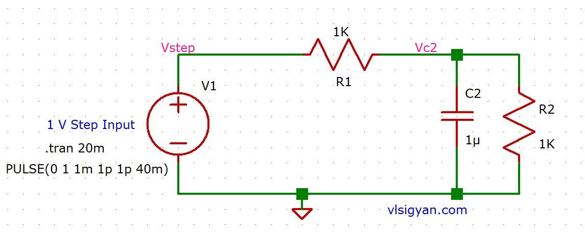 2R_1C circuit step response
